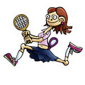 Woman tennis player hand drawn illustration of a Stock Photo