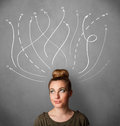 woman thinking with arrows in different directions above her head Royalty Free Stock Photo