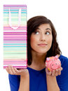 Woman thinking if shopping or saving Royalty Free Stock Images