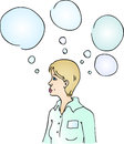 Woman thinking with round bubbles Royalty Free Stock Image
