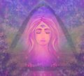 Woman with third eye psychic supernatural senses Royalty Free Stock Image
