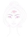Woman with third eye psychic supernatural senses illustration Stock Photo