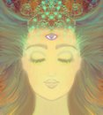 Woman with third eye psychic supernatural senses illustration Royalty Free Stock Photos