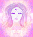 Woman with third eye psychic supernatural senses raster illustration Royalty Free Stock Photo