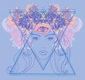 Woman with third eye, psychic supernatural senses Royalty Free Stock Photo