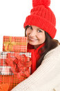 Woman with three gifts Stock Image
