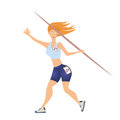 Woman throwing the javelin. Vector illustration, isolated on white.