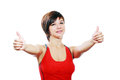 Woman with thumbs up isolated over a white background Royalty Free Stock Photos