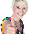 Woman with thump up Royalty Free Stock Photo