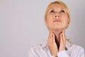 Woman thyroid gland control. Woman thyroid gland control. Healthcare and medical