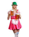 Woman in tiroler oktoberfest style with a glass of beer very beautiful dress or dirndl is holding big her hands Stock Photos