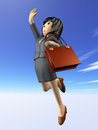 Woman to jump toward the goal in a suit side view digitally generated image Royalty Free Stock Photos
