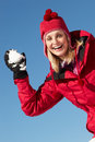 Woman About To Throw Snowball Stock Photography