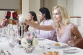 Woman toasting red wine with friends at dinner table beautiful young women Stock Images
