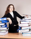 Woman with tons of folders Stock Images