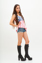 Woman in top colors of usa flag jeans and black boots beautiful Stock Photography