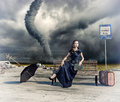 Woman and tornado Royalty Free Stock Photo