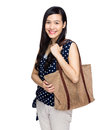 Woman with tote bag isolated on white Stock Photography