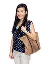 Woman with tote bag isolated on white Royalty Free Stock Image
