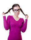 Woman touches her ponytail Royalty Free Stock Photography