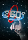 Woman touching 360 degree 3D render icon with her finger Royalty Free Stock Photo