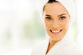 Woman towel head close up portrait of pretty with white on her after bath Royalty Free Stock Image