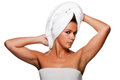 Woman With Towel on Her Head Royalty Free Stock Image