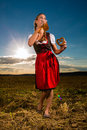 Woman with tracht beer and pretzel in bavaria young bavarian drinking keeping a dirndl at meadow Stock Photo
