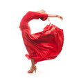 Woman traditional dancer wearing red dress isolated on white background Stock Photos