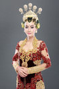 Woman traditional wedding dress of java studio portrait Stock Images