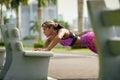 Woman Training Pectorals Doing Pushups On Street Bench-2 Royalty Free Stock Photo