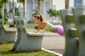 Woman Training Pectorals Doing Pushups On Street Bench-3 Royalty Free Stock Photo