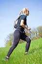 Woman training power walking Royalty Free Stock Image