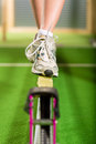 Woman training with slackline in a fitness club or gym Royalty Free Stock Photo