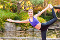 Woman training yoga outdoor in autumn park Royalty Free Stock Photo