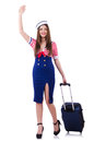 Woman travel attendant with suitcase on white Stock Image