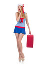 Woman travel attendant with suitcase on white Stock Photography