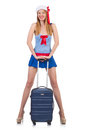 Woman travel attendant with suitcase on white Royalty Free Stock Photos