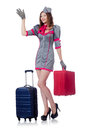 Woman travel attendant with suitcase on white Stock Images