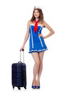 Woman travel attendant with suitcase on white Stock Photos