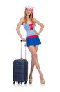 Woman travel attendant with suitcase on white Royalty Free Stock Photography