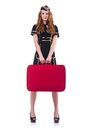 Woman travel attendant with suitcase on white Stock Photo