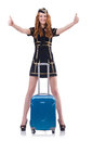 Woman travel attendant with suitcase on white Royalty Free Stock Images