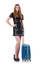 Woman travel attendant with suitcase on white Royalty Free Stock Image