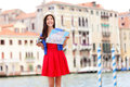 Woman travel tourist with camera in Venice, Italy Royalty Free Stock Image