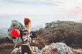 Woman Traveler with backpack mountaineering Royalty Free Stock Photo