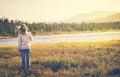 Woman Traveler walking alone Travel Lifestyle concept Royalty Free Stock Photo