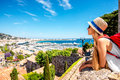 Woman traveling in Cannes Royalty Free Stock Photo