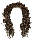 Woman trendy long curly brunette hairs wig brown . retro style .