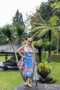 Woman on the tropical balinese landscape background, North of Bali island, Indonesia. Royalty Free Stock Photo